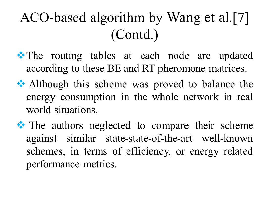 ACO-based algorithm by Wang et al.[7] (Contd.)